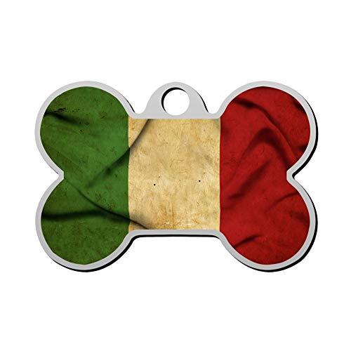 Italian Dog Tag - Kafne Italian Flag Custom Pet ID Label ized Personalized Dog Label & Cat Label Bone Shape Identity Label