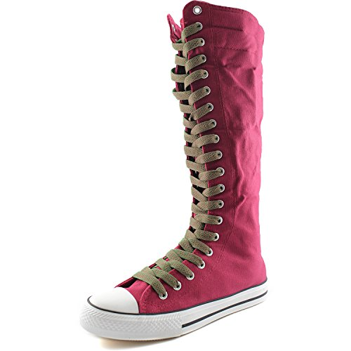 DailyShoes Womens Canvas Mid Calf Tall Boots Casual Sneaker Punk Flat, Fuchsia Boots, Taupe Lace