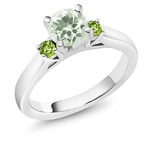 1.19 Ct Round Green Prasiolite Green Peridot 925 Sterling Silver 3-Stone Ring