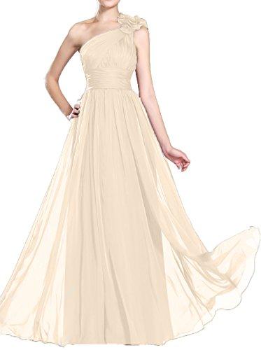 High Line DKBridal Dress Shoulder Champagne Women's A Chiffon Evening One Prom Waist Ruffle Gown Bridesmaid wqTRq
