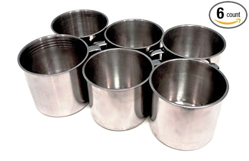 Large 16 ounce unbreakable stainless steel coffee camping, cups. (Set of 6) by Knights Of Armur
