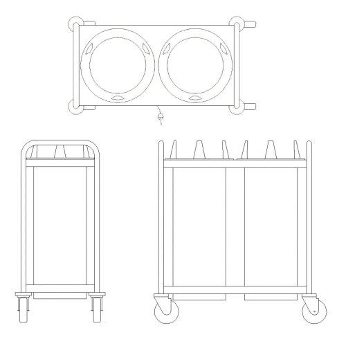 APW Wyott HTL2-6.5 Open Fram Mobile Lowerator Heated Dish Dispenser - Mobile Lowerator Dish Dispensers