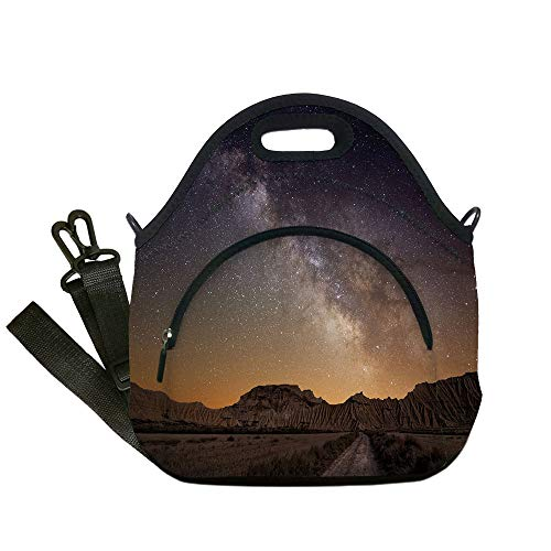 Insulated Lunch Bag,Neoprene Lunch Tote Bags,Night Sky,European Vacation Place Spain Milky Way Over The Desert of Bardenas View Decorative,Brown and Dark Blue,for Adults and children