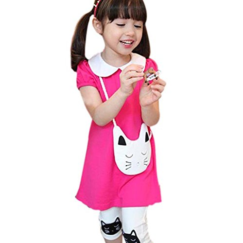 Urparcel Girls Top Heart Printed T-Shirts with Headband Leggings Pants Outfits (3-4 Years, Rose)