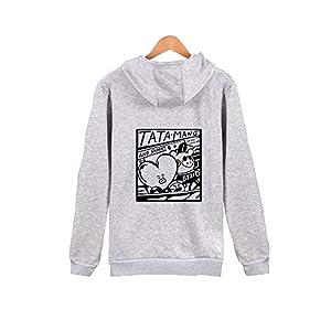 BTS V Same Style Hoodie V Rap-Monster Suga Jin Jimin J-Hope Jung Kook Zip-up Jacket (L, Grey)