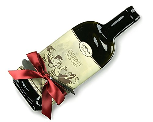 Candoni Chianti Melted Wine Bottle Cheese Tray with Cheese Spreader, Red Wine Lover Gift (Chianti Tray)