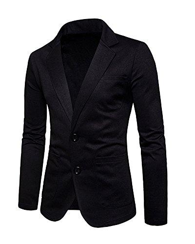 Business Blazer Jacket Manteau Veste Fit Costume Casual Slim Homme Bouton Elegant Noir BTpqxXqn