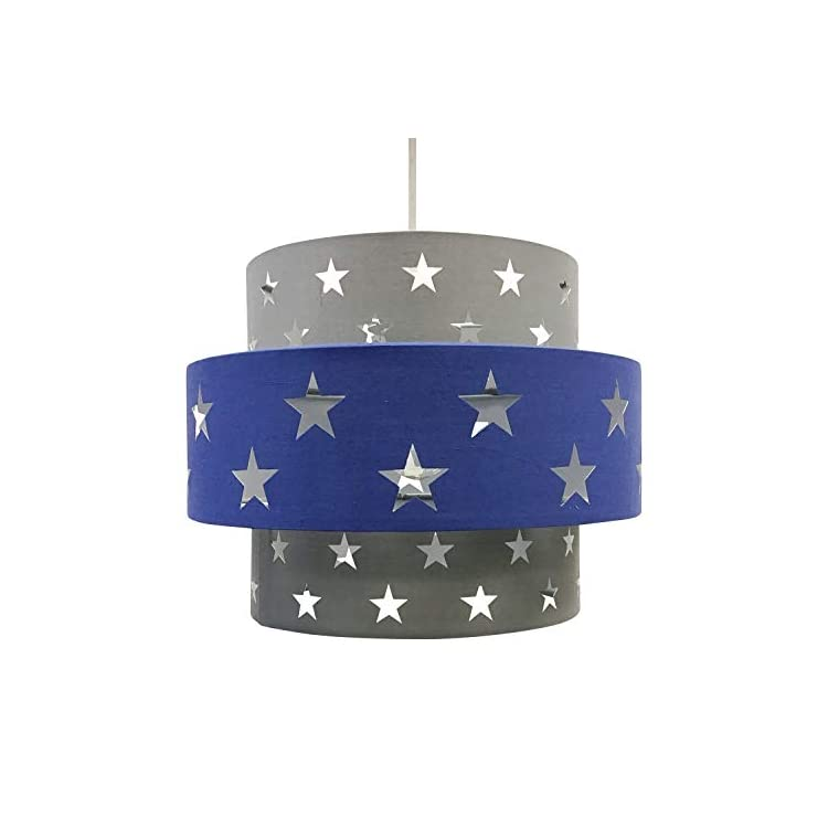 Easy Fit Light Shade Blue Star Design 2 Tier Ceiling Lighting Boys Bedroom
