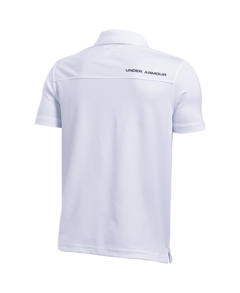 Under Armour Boys' Performance Polo, White /Rhino Gray, Youth X-Small by Under Armour (Image #2)