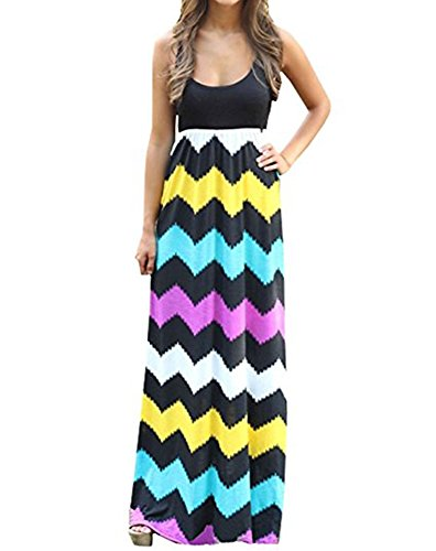 OSNIC Womens Summer Dresses Sleeveless Dresses A-Line Beach Casual Dress Printed Top Maxi Dress-Only sold by - Jacket Soft Advantage