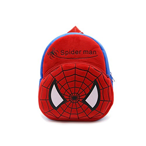 YOURNELO Kid's Plush Cartoon Preschool Toddler Toys Bag Backpack Schoolbag (E Spider Man)