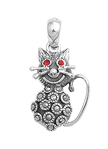 Cat Pendant Simulated Ruby Simulated Marcasite .925 Sterling Silver Charm - Silver Jewelry Accessories Key Chain Bracelet Necklace Pendants