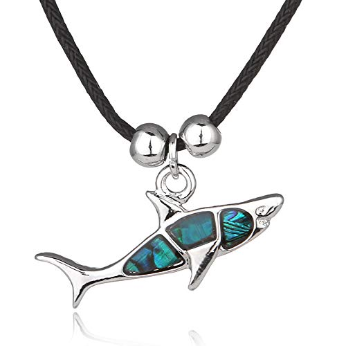 Barch Young Blue Abalone Paua Shell Shark Pendant Necklace for Women and Girls on Black Cord/Stainless Chain Movie Necklace (3# Shark)