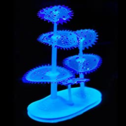 Uniclife Silicone Gear Coral Plant Decorations Glowing Artificial Ornament for Fish Tank Aquarium, Blue