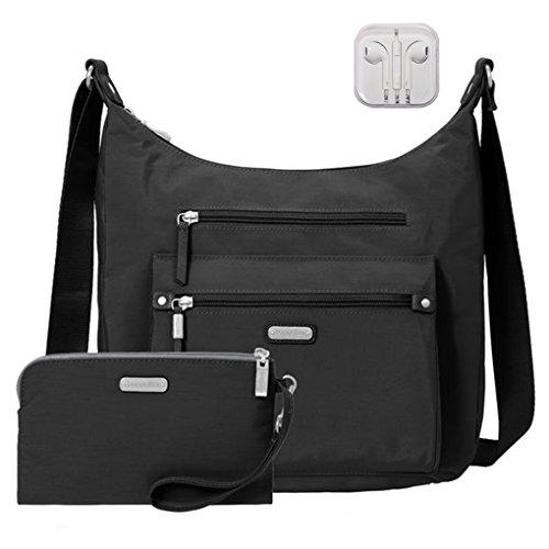 Baggallini Day Trip Everyday Hobo Handbag, RFID Wristlet, Bundle with complimentary Travel Earphones (Black)