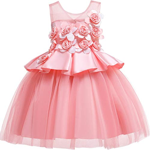 Dresses Wedding Party Princess Dresses Baby Girls First Communion Layered Tutu Dresses,Pink,7 ()