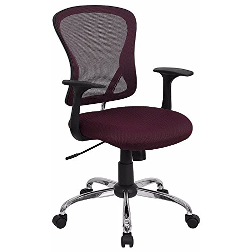 Offex Mid Back Burgundy Mesh Office Chair with Chrome Finished Base