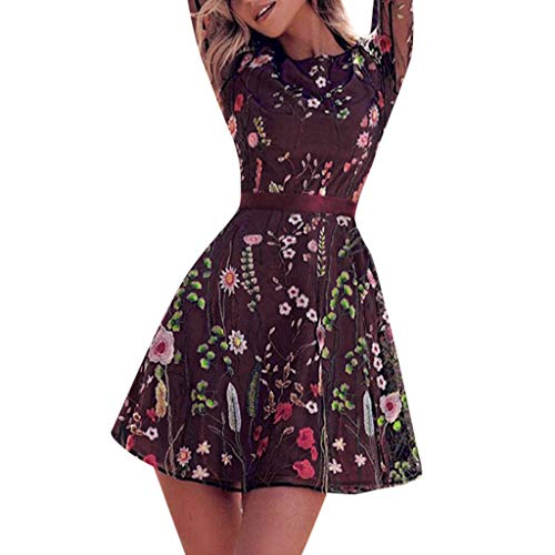 - Women's Floral Embroidered Lace Mesh Double Layer Dress, Long Sleeve O-Neck Evening Party Mini Dresses (XXL, Purple)