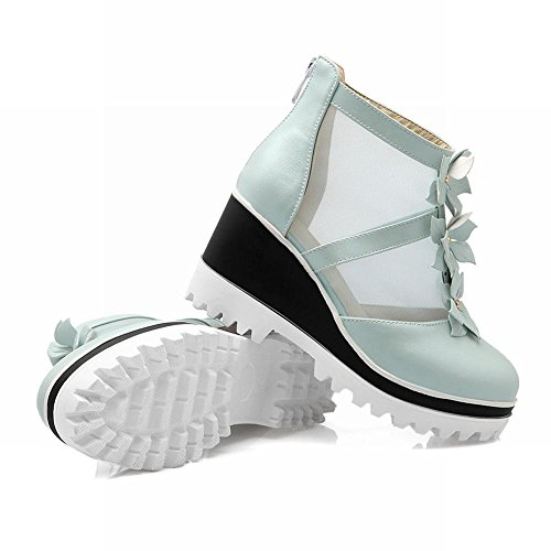 Mee Shoes Damen modern bequem süß Mesh mit Blümchen Reißverschluss Blockabsatz Geschlossen Plateau Pumps Blau