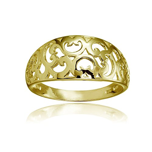 Hoops & Loops Yellow Gold Flashed Sterling Silver High Polished Filigree Band Ring, Size 7