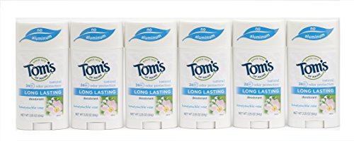 Tom's of Maine Long Last Deodorant, Honey Suckle Rose, 2.25 Ounce, Pack of 6
