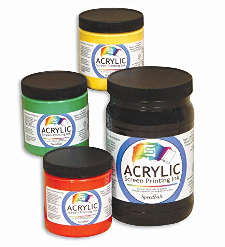 Speedball Permanent Non-Toxic Non-Flammable Oil Based Acrylic Screen Printing Ink, 1 qt Jar, Black
