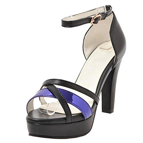 Mujer Tobillo Correa Zapatos Sandalias Black De Coolcept pWg4nOBg