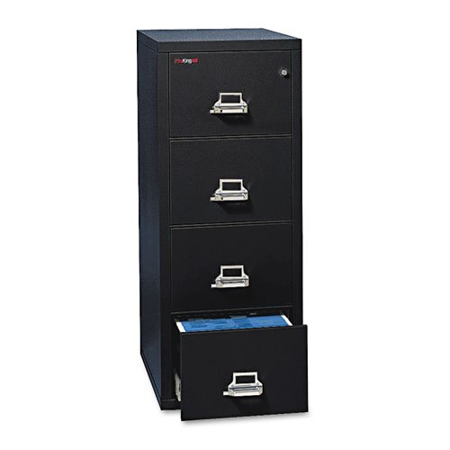Fireking 4-Drawer Vertical File, 20-13/16w x 25d, UL 350° for Fire, Legal, Black - BMC-FIR 42125CBL
