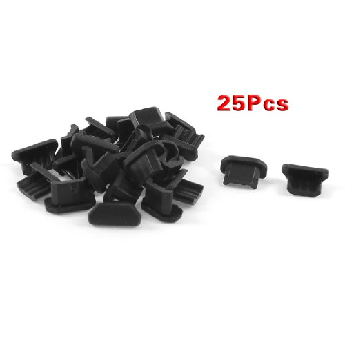 SODIAL(R) 25 Pcs Anti Dust Black Soft Plastic Dock Cover Micro USB Port Ear Jack