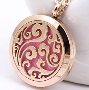 Chenier Aromatherapy Essential Oil Diffuser Sky Necklace, Stainless Steel Pendant, Rose Gold Gift Jewelry