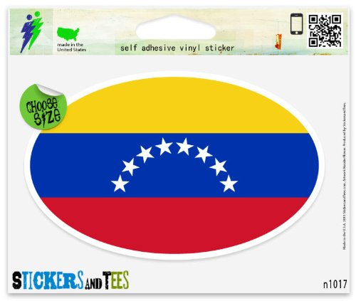 Venezuela Flag Oval Vinyl Car Bumper Window Sticker 3