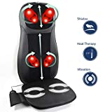 Zyllion Shiatsu Neck and Back Massager Cushion with Soothing Heat Function - Fits Perfectly on Chair...