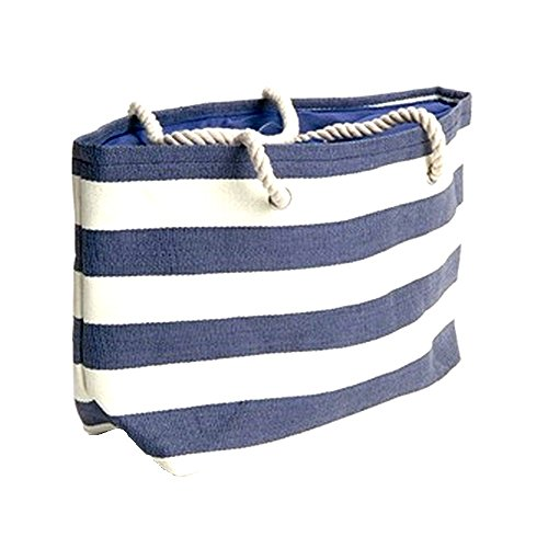 Banded Stripe Large Beach Town Tote Bag - Navy / (Natural Beach Tote)