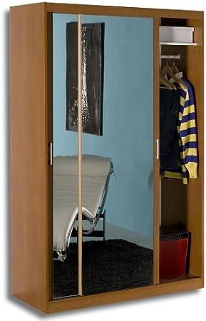 Armadio A Specchio Usato.Armadio Specchio Due Ante Scorrevoli Ciliegio Kit Montaggio Ar0263 L118h200p58 Amazon It Casa E Cucina