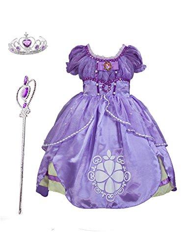 Familycrazy Princes Sofia Costume Dress with Tiara, Wand for Birthdays, Halloween, Parties,Children's Day Blue-Purple