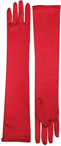 Long Red Satin Gloves (Red Long Gloves)