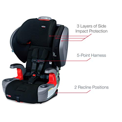 41%2BTEQvX7YL - Britax Grow With You ClickTight Plus Harness-2-Booster Car Seat | 3 Layer Impact Protection - 25 To 120 Pounds, Jet Safewash Fabric [New Version Of Pinnacle]