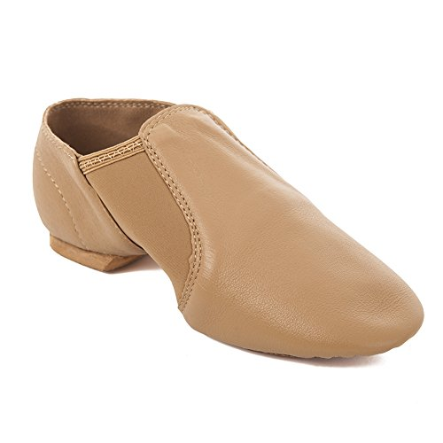 Factory-Second-Youth-Tan-Slip-On-Split-Sole-Full-Grain-Leather-Jazz-Shoe-with-Neoprene-Inserts-Y12