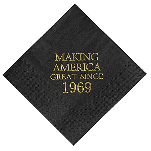 Crisky 50th Birthday Napkins Black and Gold Dessert Beverage Cocktail Luncheon Napkins 50th Birthday Decoration Party Supplies, Making America Great Since 1969, 50 Pack 4.9