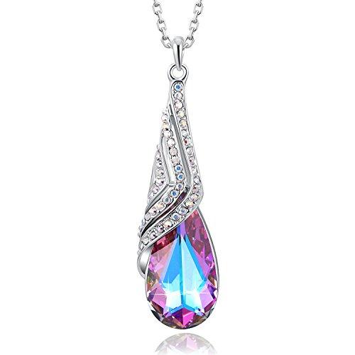 PLATO H Sailboat Charm Pendant Woman Fashion Jewelry Swarovski Crystals, February Birthstone Necklace, 18