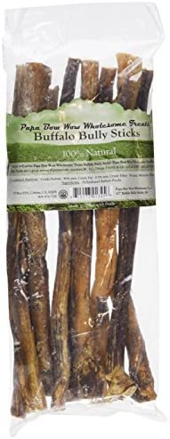 Papa Bow Wow Buffalo Treats for Dogs, Bully Stix 12in 1 lb