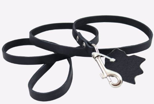 """Genuine Leather Classic Dog Leash Black 1/2"""" Wide 4 Ft, Boston Terrier, Poodle, Puppies"""