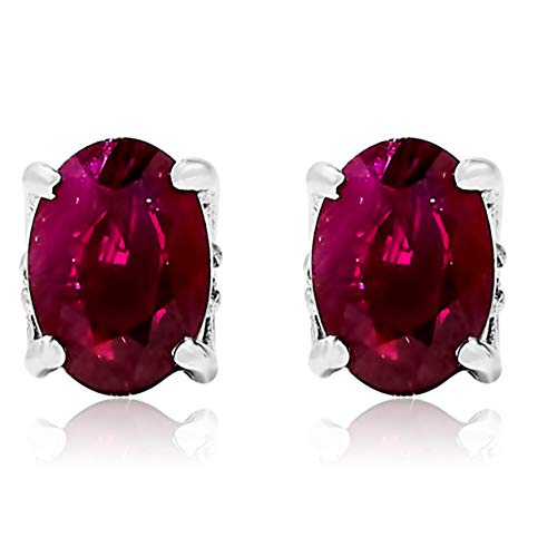 - 14k White Gold Oval Red Ruby Gemstone and Diamond Stud Earrings, Birthstone of July.
