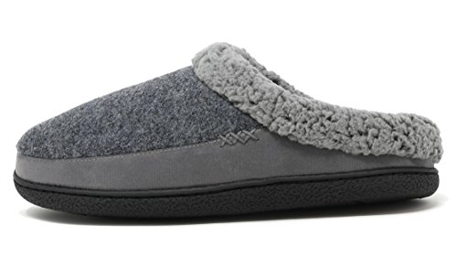 Dream Pairs Hombres Aidan Faux Fur Mules Fluffy Comfy Slippers Grey