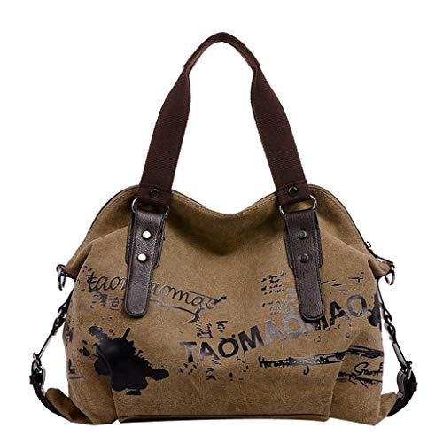 Y Bandolera Brown Mensajero Para Logobeing Shoppers Lona Estudiante Mujer Baratos Hombro De Bolso Grande Bolsos Tw5wgBqz