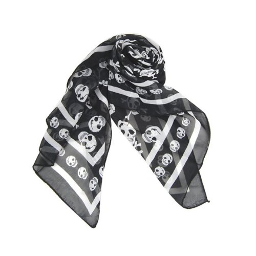 eFuture(TM) Black Chiffon Silk Feeling Skull Print Fashion Long Scarf Shawl Scaf Wrap For Women +eFuture's nice Keyring