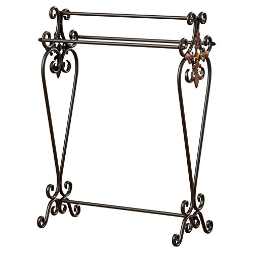 Quilt Rack Made of Scroll Work Metal With Three Sturdy Metal Poles For Extra Storage In Oil Rubbed Bronze Color Will Help Yo Organize Your Bedroom by eCom Fortune