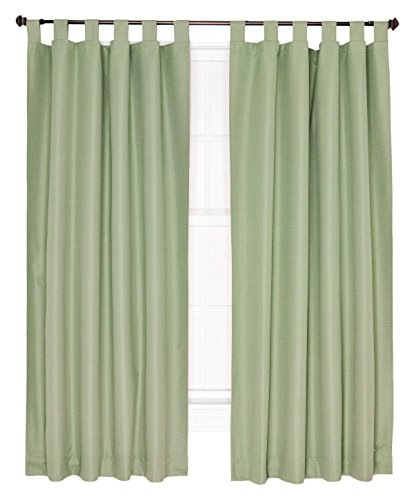 (Ellis Curtain Crosby Thermal Insulated 80 by 63-Inch Tab Top Foamback Curtains, Sage)