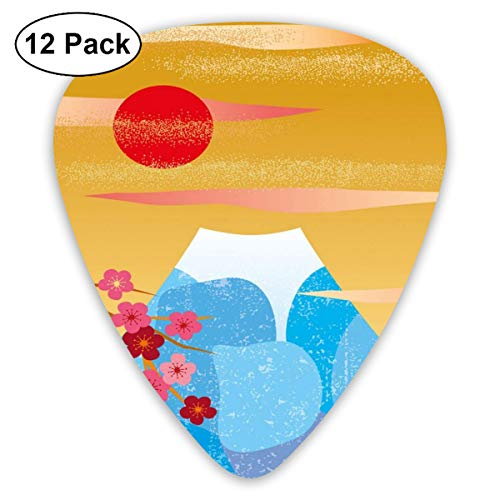 - Guitar Picks 12-Pack,Vertical Illustration Of High Cliff Silhouette With Flowers