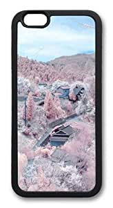 Covered cherry trees mountain TPU Case Cover for iPhone 6 and iPhone 6 4.7 inch Black